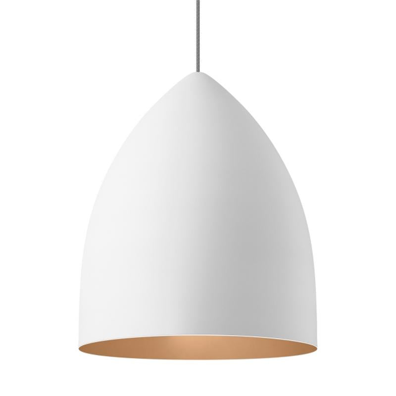 signal grande pendant in white with copper interior by tech lighting