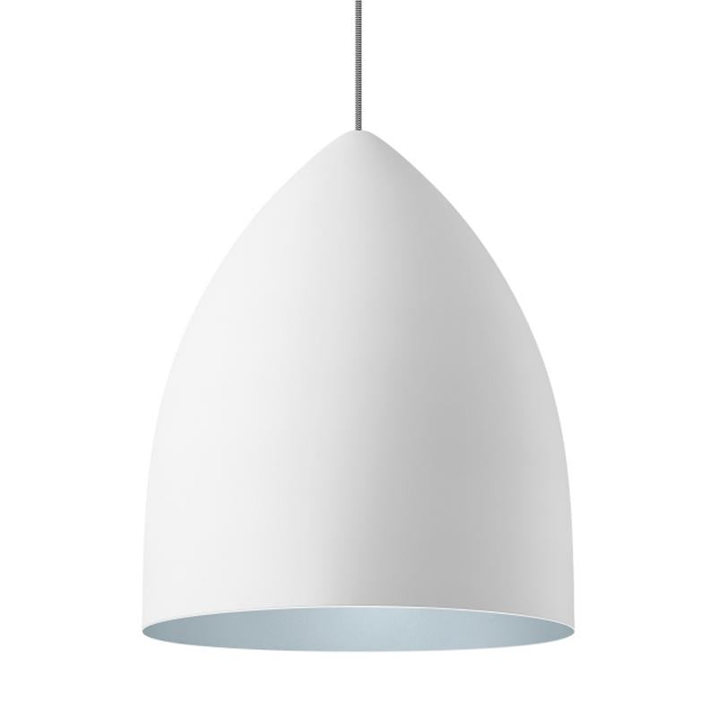 signal grande pendant in white with blue interior by tech lighting