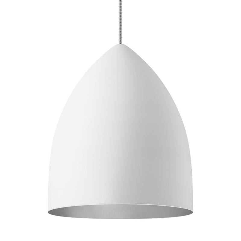 signal grande pendant in white with platinum interior by tech lighting
