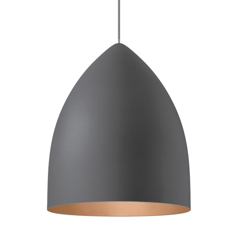 signal grande pendant in gray with copper interior by tech lighting
