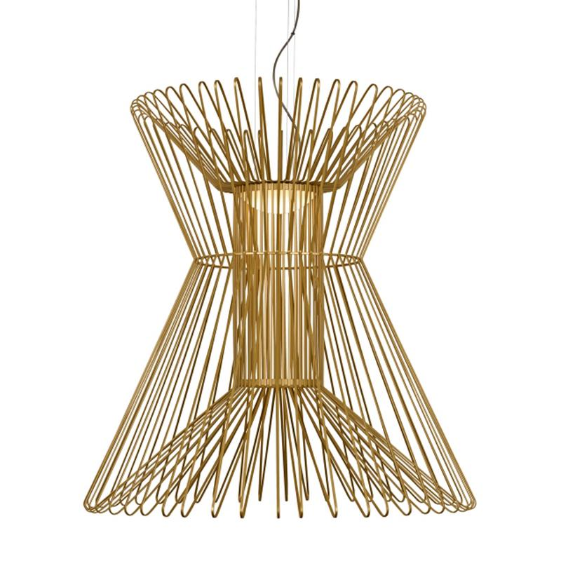 Syrma Grande Pendant, satin gold, machined metal rods, tech lighting