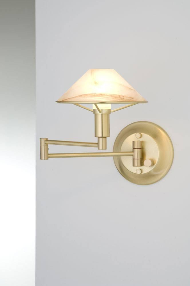 9426 SWING-ARM WALL SCONCE BRUSHED BRASS / ALABASTER BROWN GLASS - 2