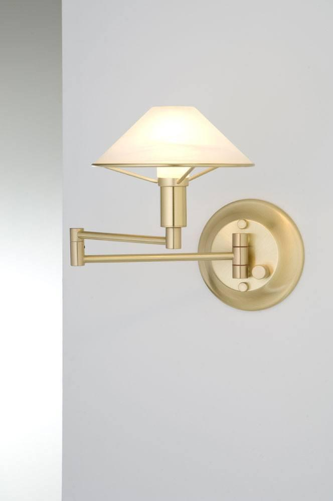 9426 SWING-ARM WALL SCONCE BRUSHED BRASS / ALABASTER WHITE GLASS - 3