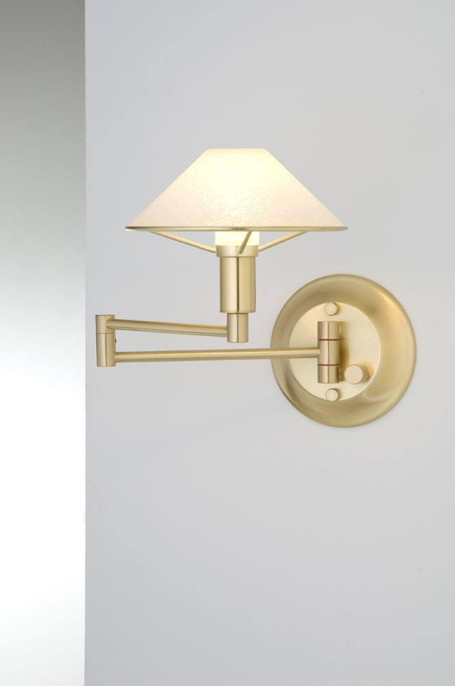 9426 SWING-ARM WALL SCONCE BRUSHED BRASS / SATIN WHITE GLASS - 5