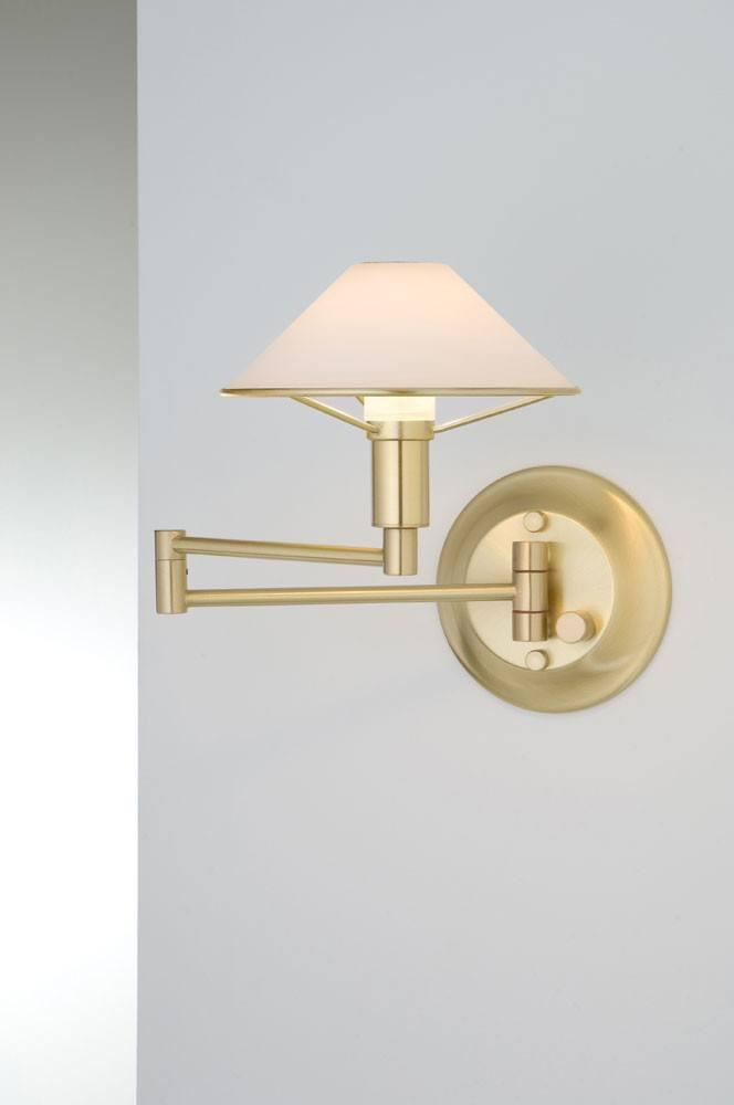9426 SWING-ARM WALL SCONCE BRUSHED BRASS / TRUE WHITE GLASS - 6