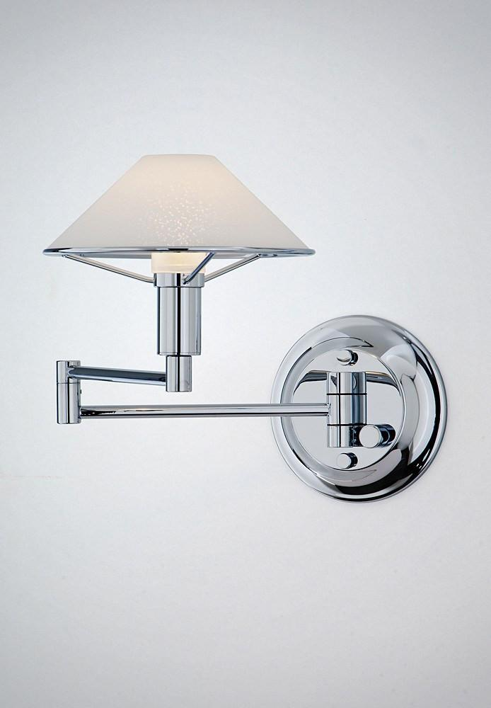 9426 SWING-ARM WALL SCONCE CHROME / SATIN WHITE GLASS - 8