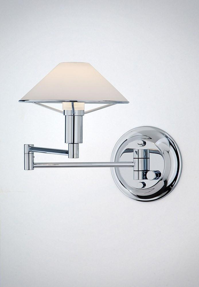 9426 SWING-ARM WALL SCONCE CHROME / TRUE WHITE GLASS - 9