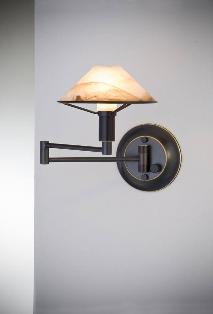 9426 SWING-ARM WALL SCONCE HAND-BRUSHED OLD BRONZE / ALABASTER BROWN GLASS - 10
