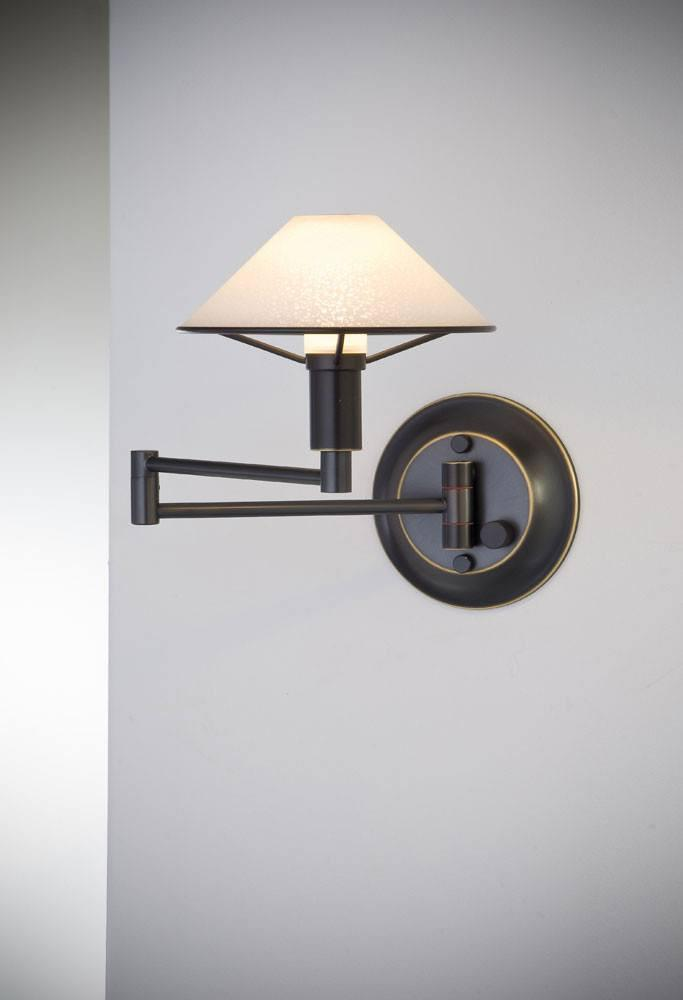9426 SWING-ARM WALL SCONCE HAND-BRUSHED OLD BRONZE / TRUE WHITE GLASS - 1
