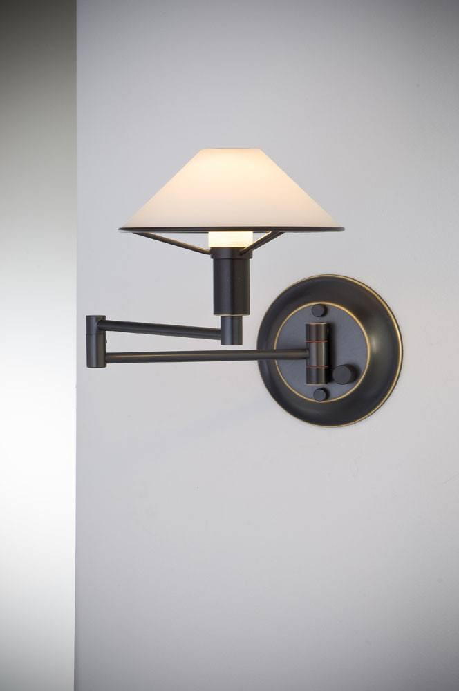 9426 SWING-ARM WALL SCONCE HAND-BRUSHED OLD BRONZE / SATIN WHITE GLASS - 13