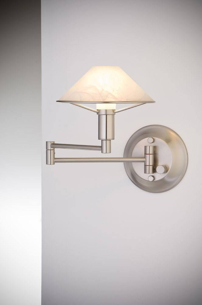 9426 SWING-ARM WALL SCONCE SATIN NICKEL / ALABASTER WHITE GLASS - 14