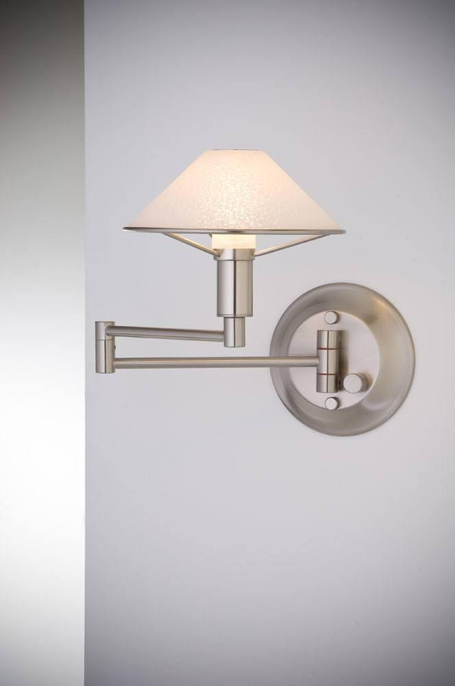 9426 SWING-ARM WALL SCONCE SATIN NICKEL / SATIN WHITE GLASS - 16
