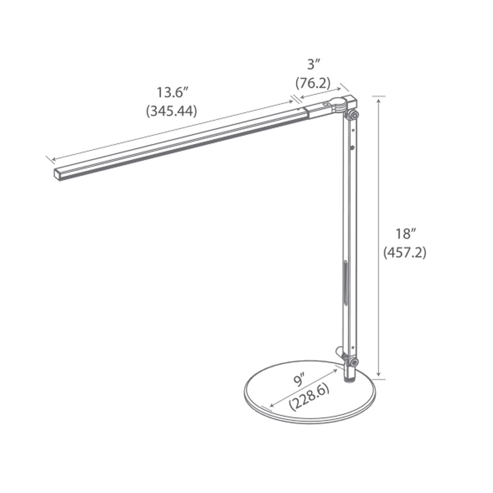 z-bar solo LED desk lamp, technical drawing, dimensions, measurements, koncept lighting