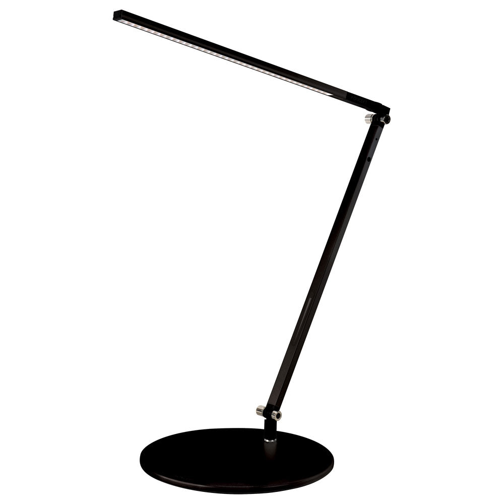 z-bar solo LED desk lamp, round base, metallic black, warm or cool light, Koncept Lighting