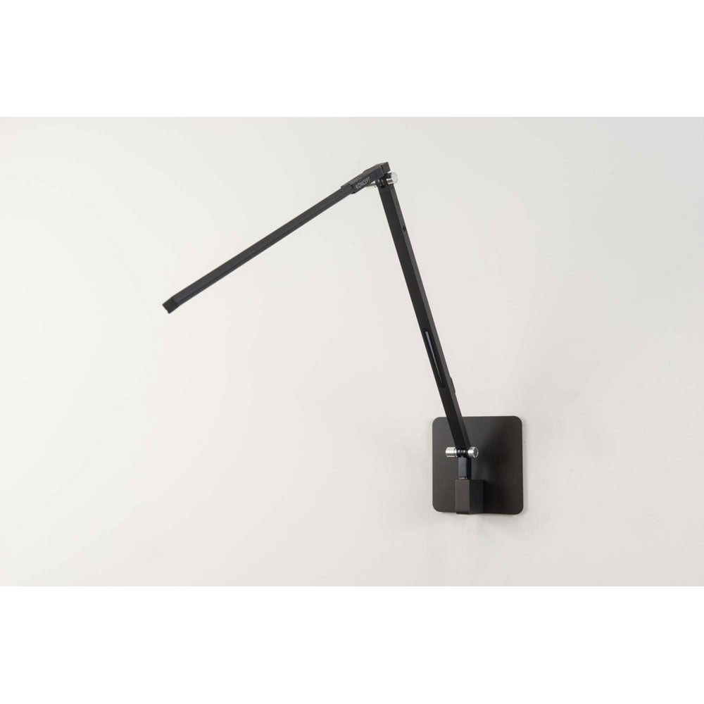 z-bar solo LED desk lamp in metallic black, with wall mount from Koncept lighitng