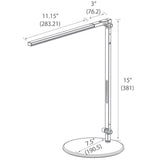 z-bar solo mini led desk lamp, technical drawing, dimensions, measurements, koncept lighting