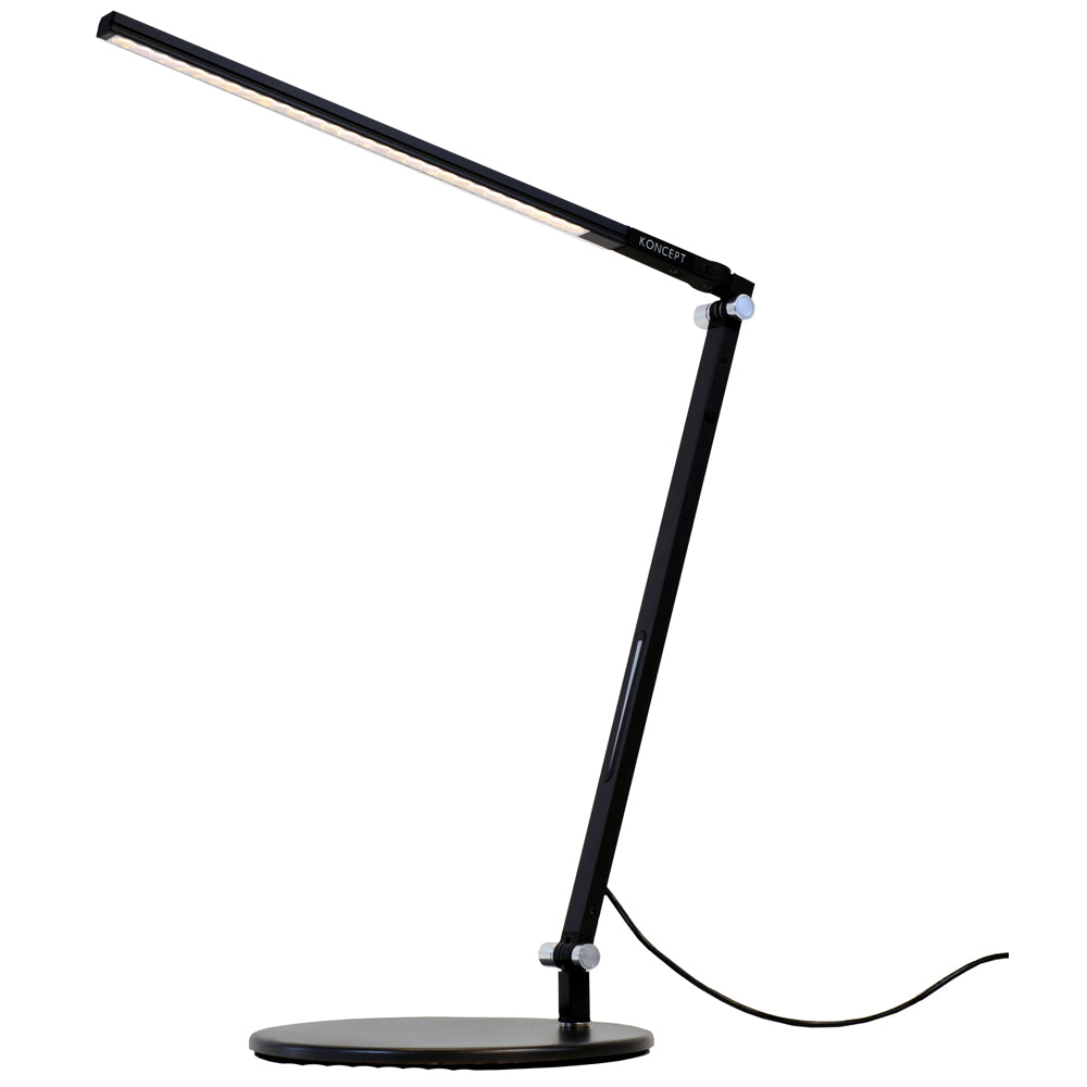 z-bar solo mini LED desk lamp, metallic black, warm or cool light, Koncept lighting