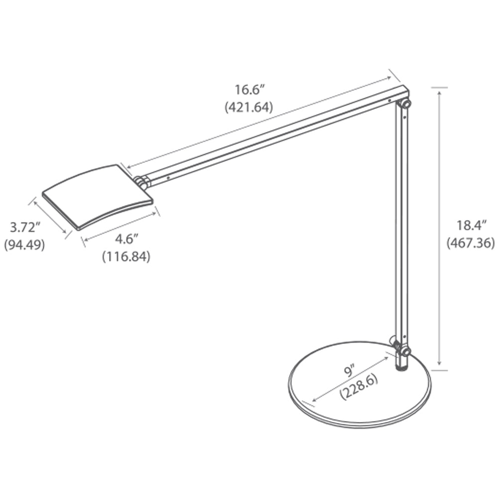 Mosso Pro desk lamp. LED, technical drawing, specifications, Koncept