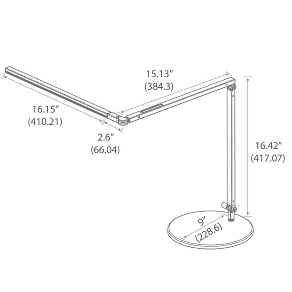 z-bar led desk lamp, technical drawing, specifications, Koncept