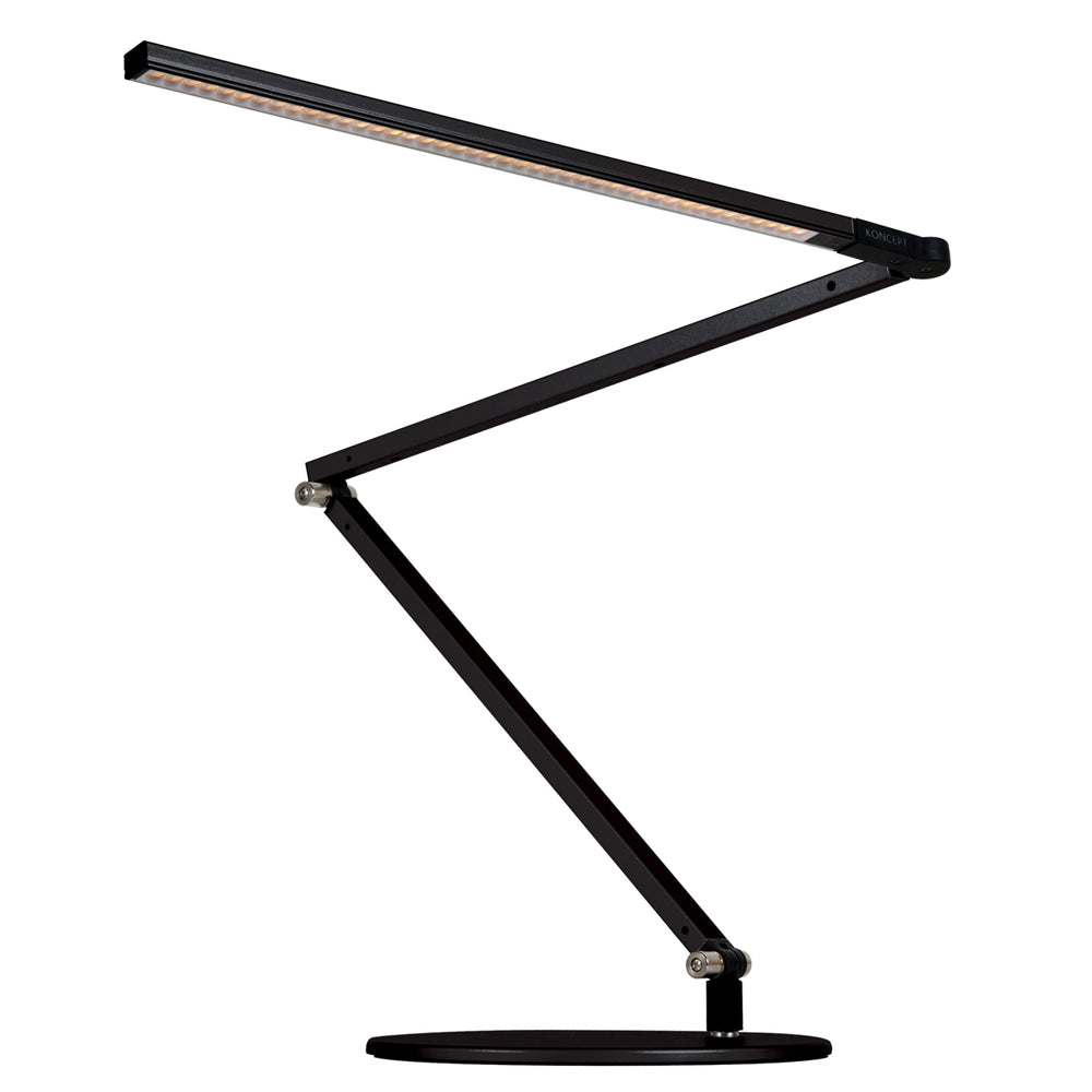 z-bar led desk lamp, metallic black, warm or cool light, koncept