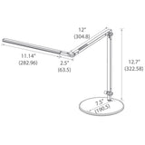 z-bar mini desk lamp, technical drawing, measurements, Koncept