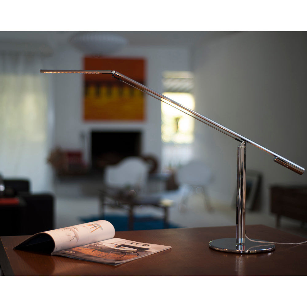 CHROME EQUO DESK LAMP LIGHTING MAGAZINE ON TABLE TOP
