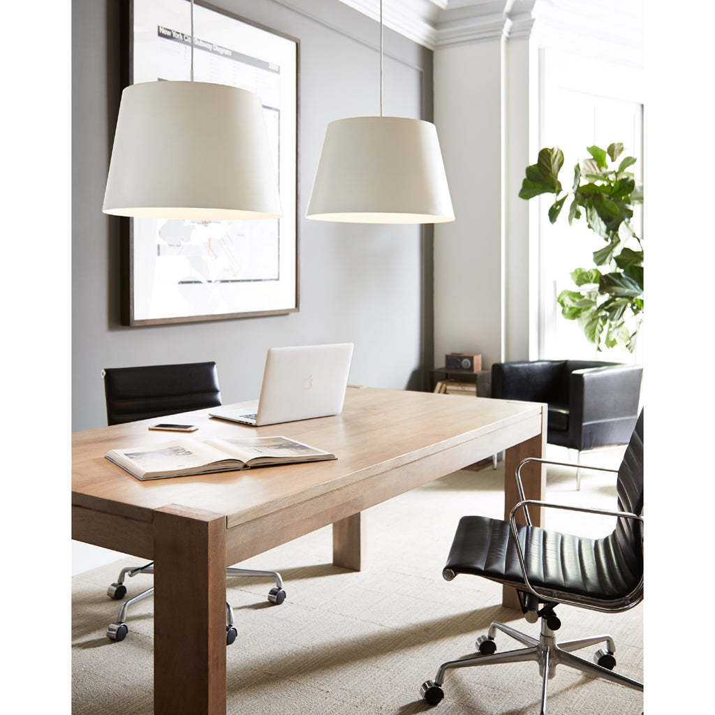 White Henley Pendants hanging in an office setting