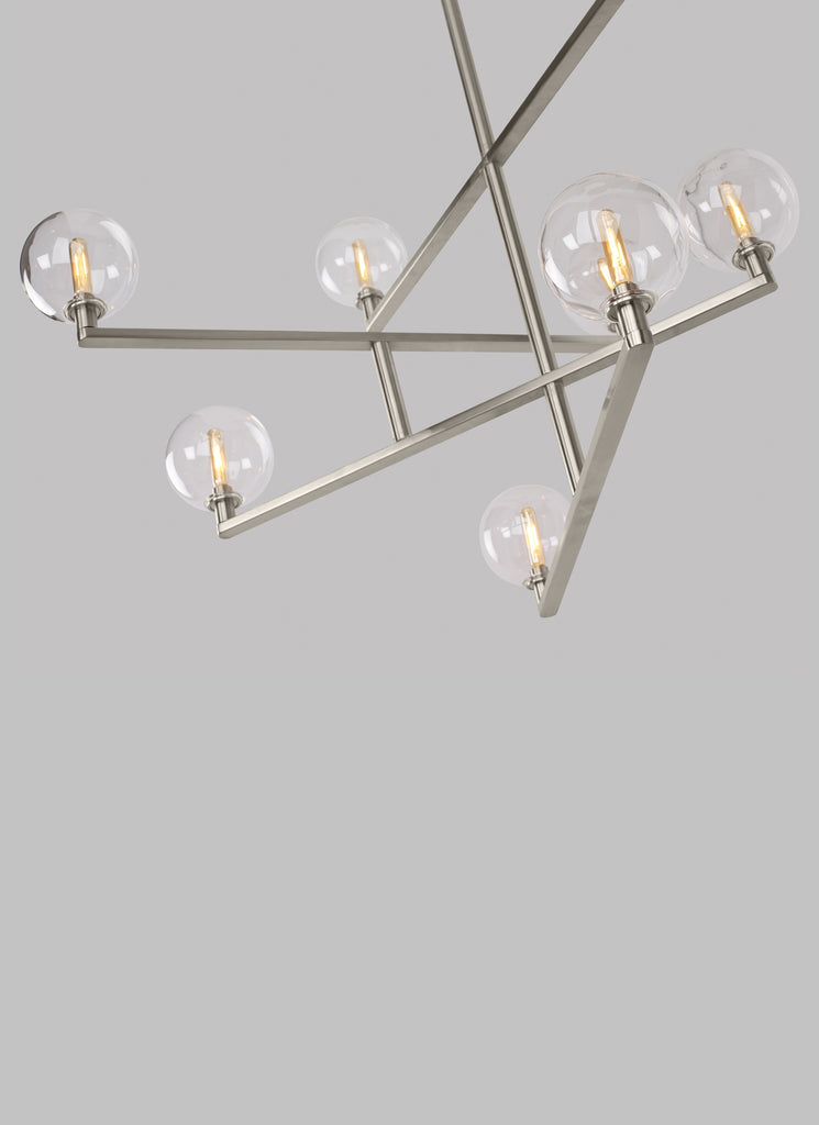 bottom view of satin nickel finish Gambit Chandelier from Tech lighting