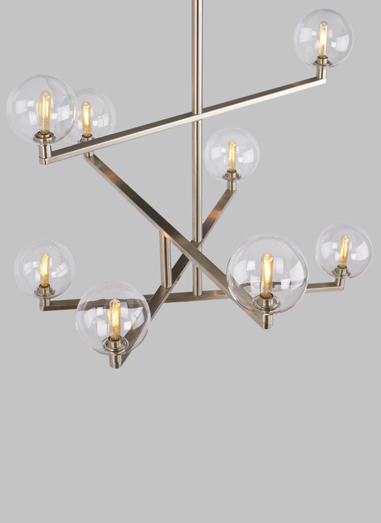 Top view of satin nickel finish Gambit Chandelier from Tech Lighting
