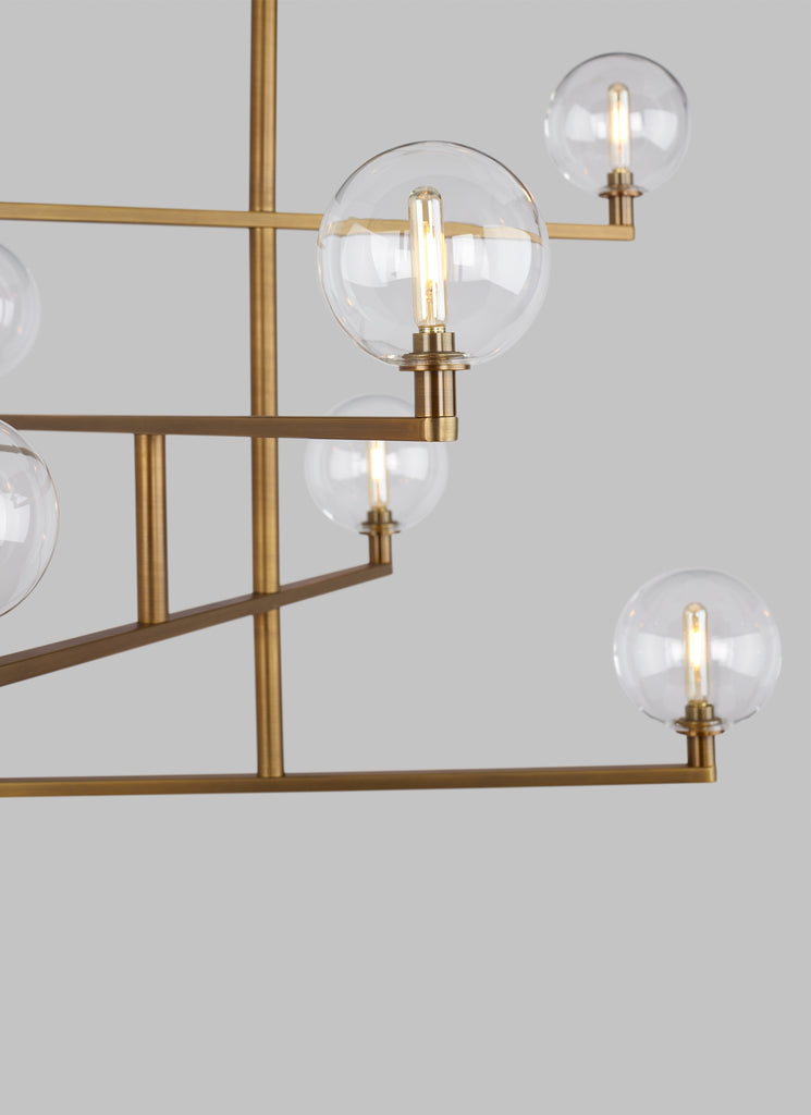 Aged brass finish on Gambit Chandelier from Tech Lighting
