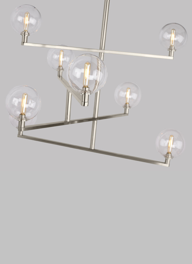 Satin Nickel finish of Gambit Chandelier from Tech Lighting