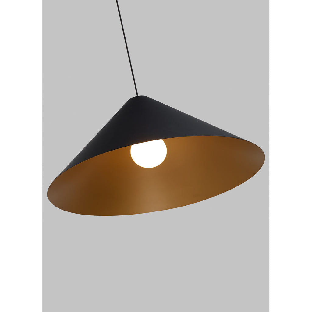 interior view of Konos black and satin gold pendant from tech lighting