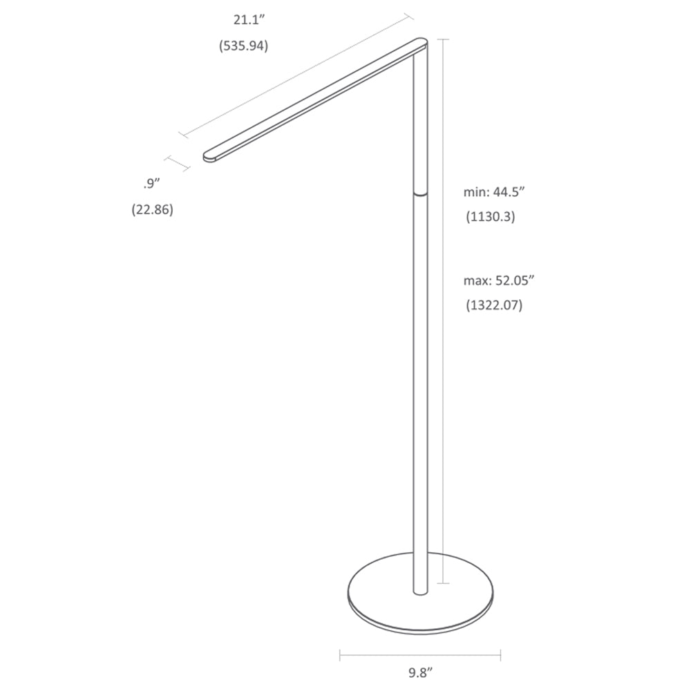 Lady 7 floor lamp, LED, technical drawing, specifications, Koncept