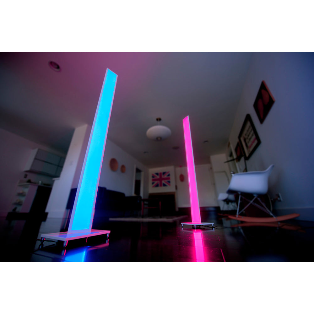 Tono LED floor lamps one lit blue the other lit pink