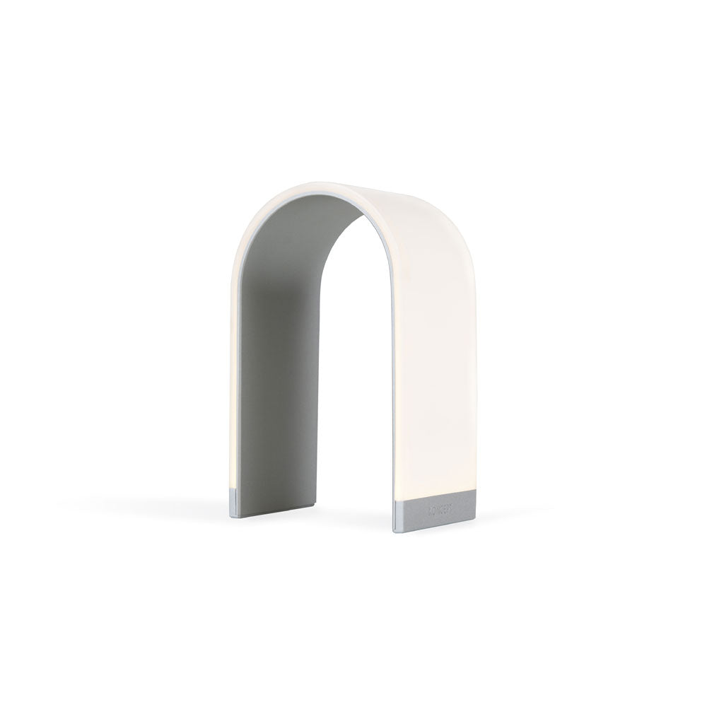 me. N, arch shaped LED table lamp, silver, Koncept