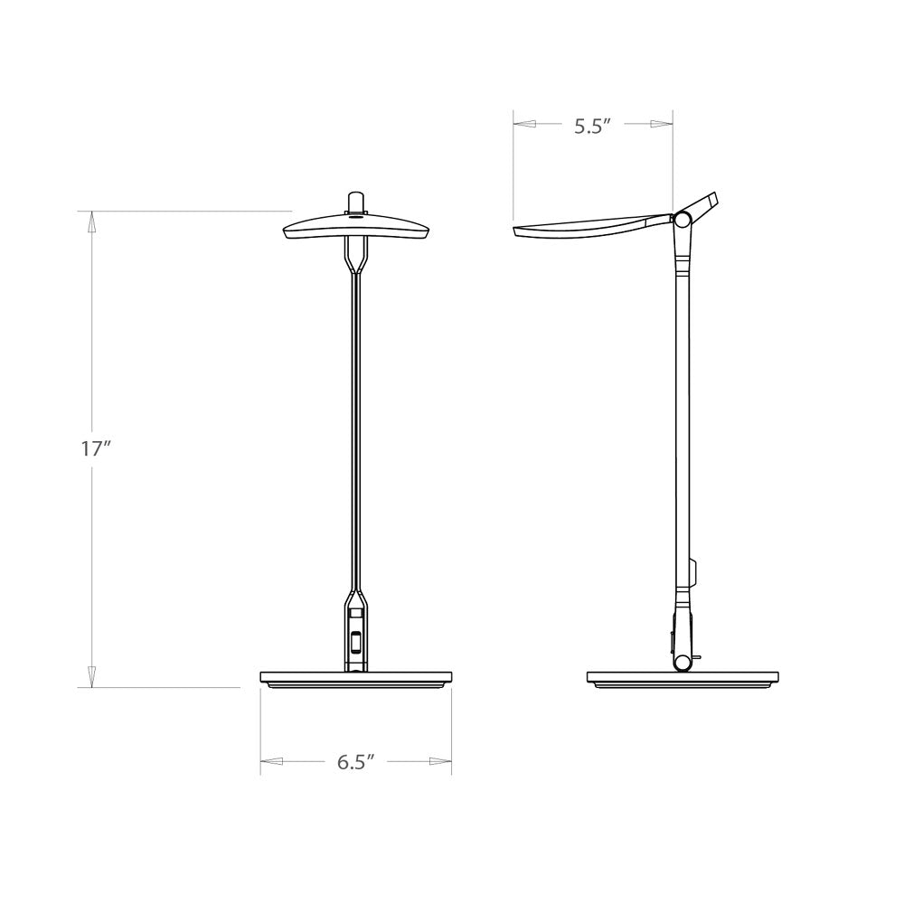 splitty led desk lamp technical drawing, dimensions, specifications, koncept lighting