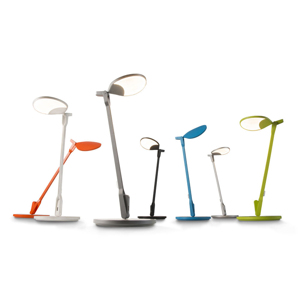 Splitty LED desk lamp in Matte orange, matte white, matte grey, matte black, matte pacific blue, silver, and matte green leaf from Koncept lighting