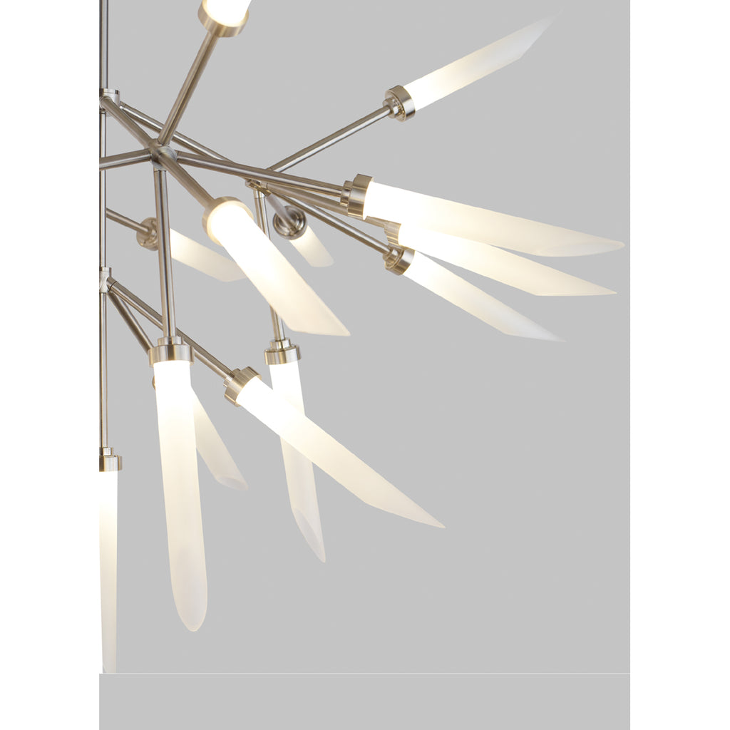 spur chandelier, details of frosted glass, aged brass finish, tech lighting