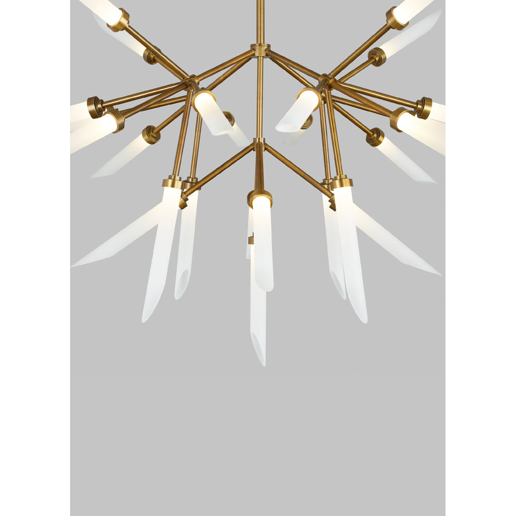 spur chandelier, frosted glass spur details, tech lighting