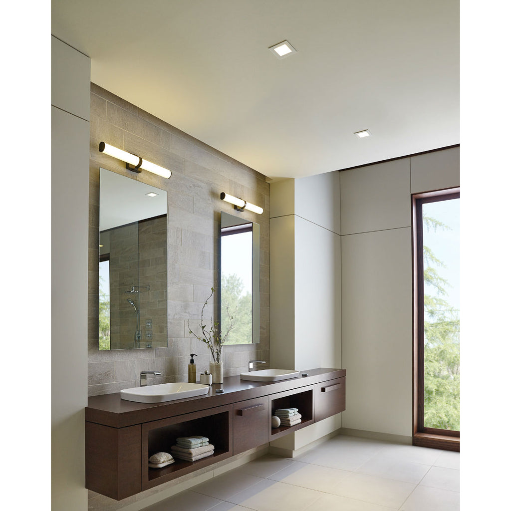 Lynk vanity light from tech lighting over double sinks in bathroom