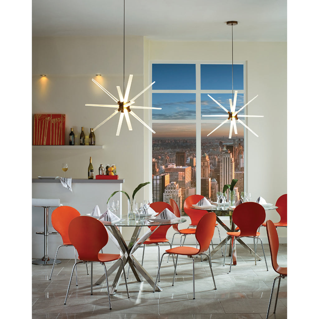 Photon LED pendants hanging over glass tables in small cafe