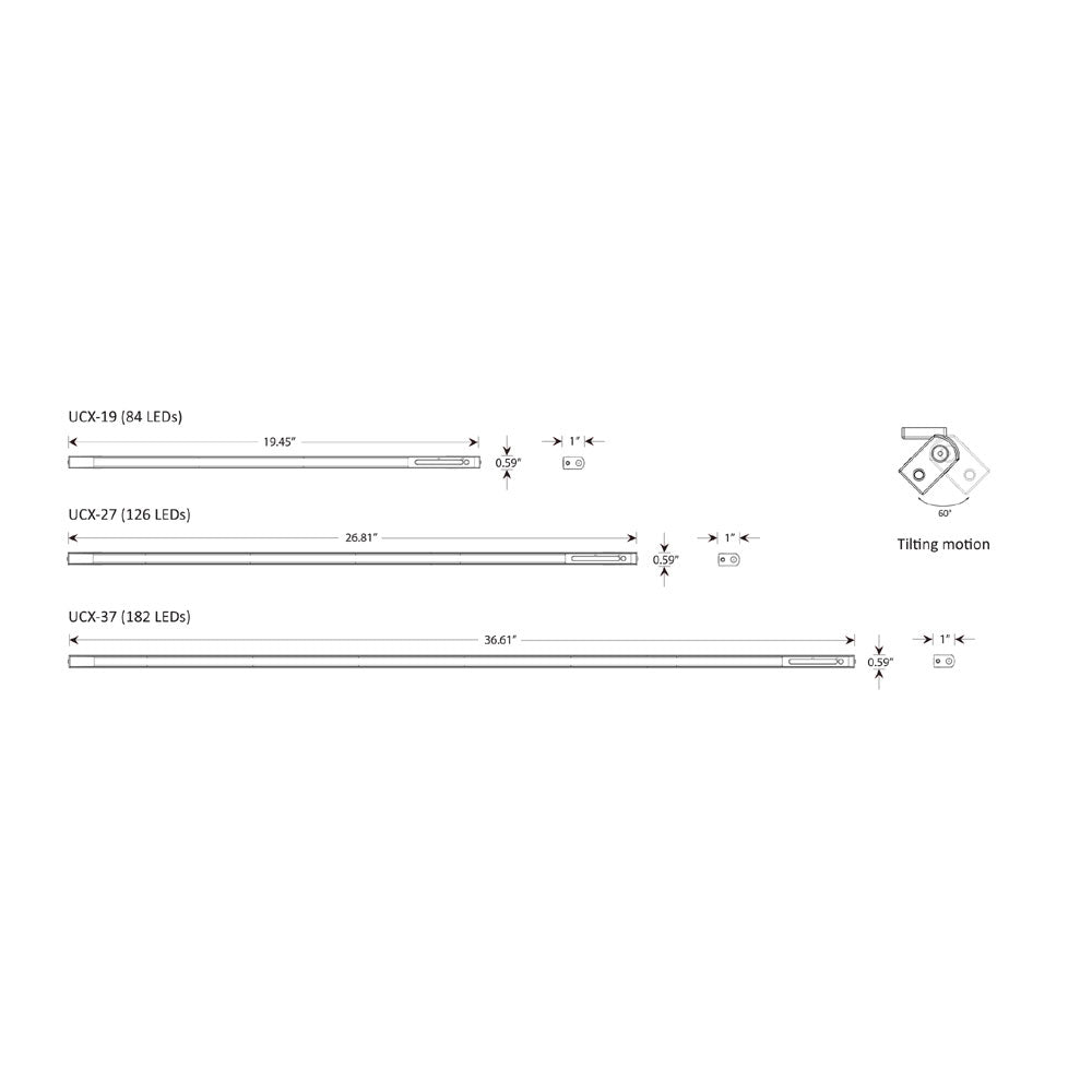 UCX under cabinet linear light technical drawing, dimensions, sizes, specifications, koncept lighting