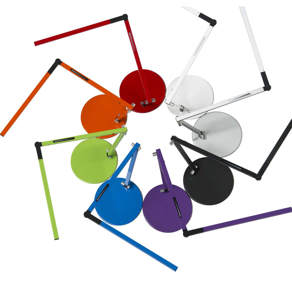 Koncept Lighting, Z-Bar mini LED desk lamp, finish options, red, orange, green, metallic blue, purple, black, silver, white, warm or cool option