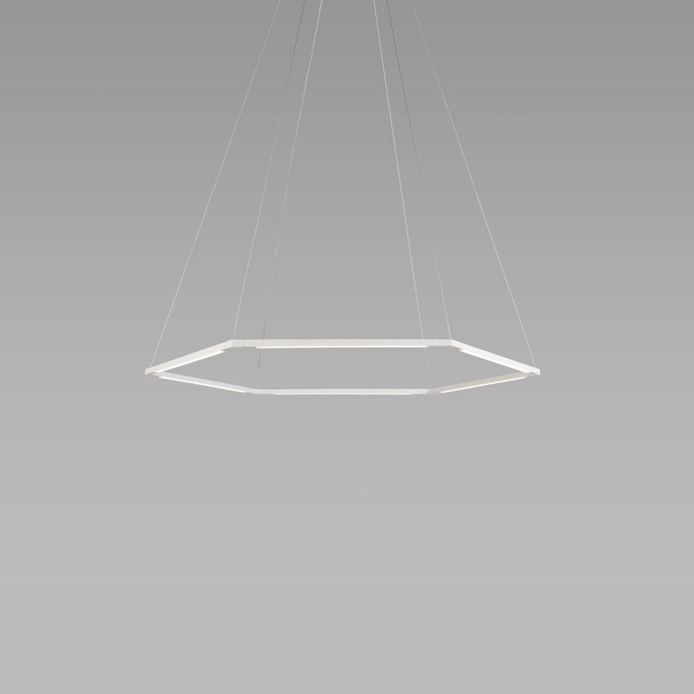 "z-bar honeycomb pendant, 16"", matte white, LED, Koncept Lighting"
