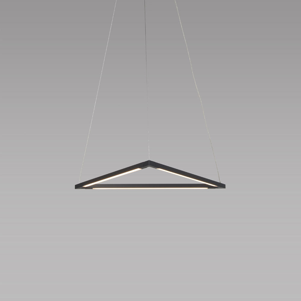 "z-bar triangle pendant, 16"", LED, Matte Black, Koncept"