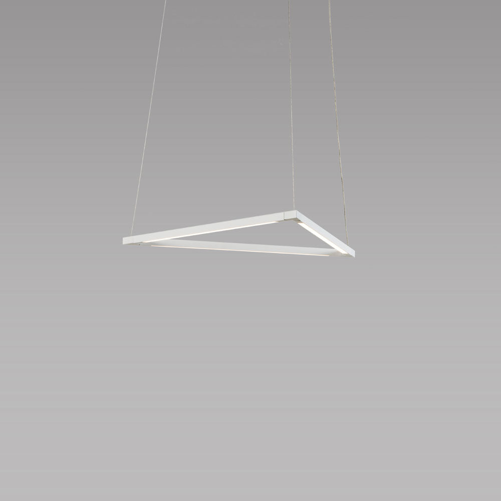 "z-bar triangle pendant, 16"", LED, Matte White, Koncept"