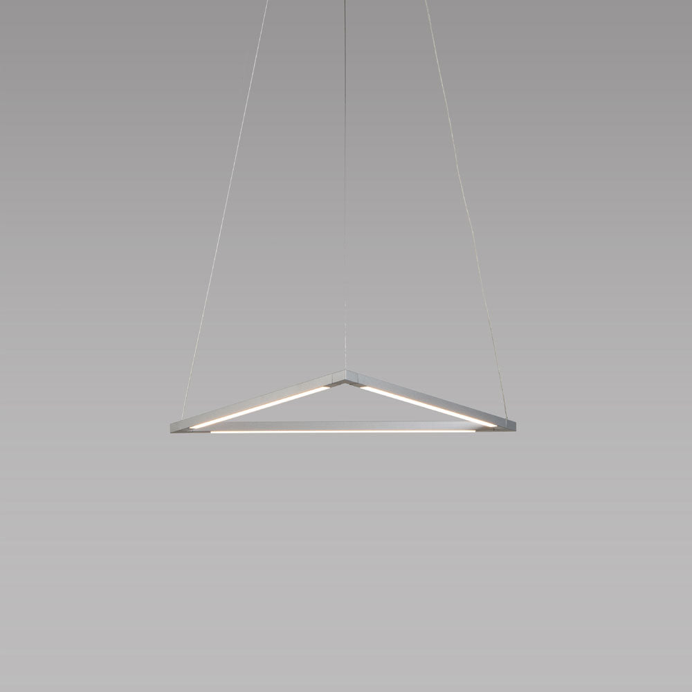 "z-bar triangle pendant, 16"", LED, Silver, Koncept"