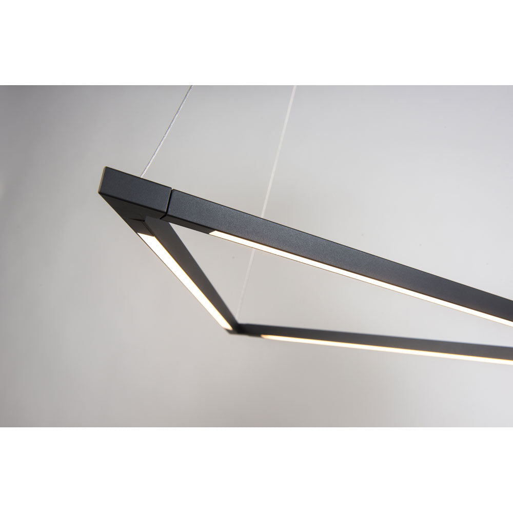 Details of the LED z-bar triangle pendant from Koncept lighting in Matte black