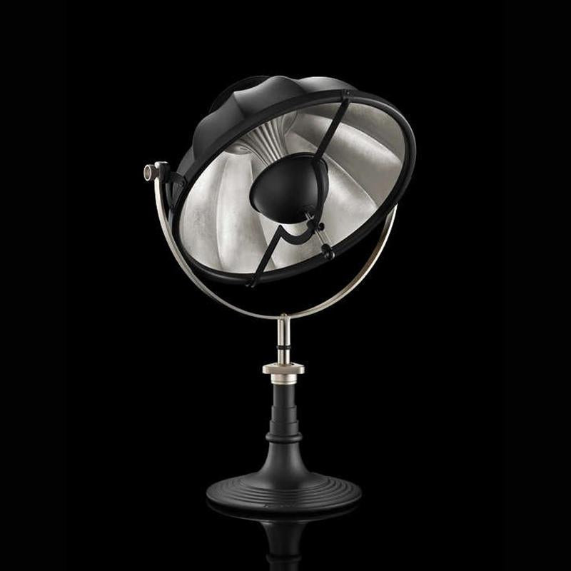 ARMILLA41 table lamp with black stand, silver leaf interior, venetia studium, fortuny lighting