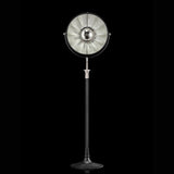 ATELIER41 floor lamp with black stand and silver leaf interior, venetia studium, fortuny lighting
